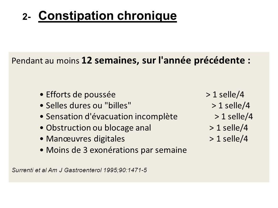 SECONDE INTENTION Laxatifs émollients (lubrifiants) ( grade C) Lubrification du bol fécal.