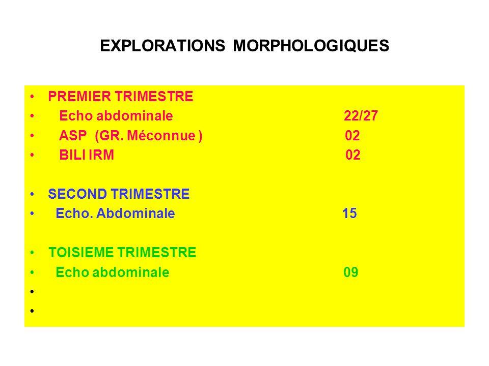 EXPLORATIONS MORPHOLOGIQUES PREMIER TRIMESTRE Echo abdominale 22/27 ASP (GR. Méconnue ) 02 BILI IRM 02 SECOND TRIMESTRE Echo. Abdominale 15 TOISIEME T