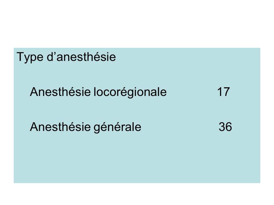 Type danesthésie Anesthésie locorégionale 17 Anesthésie générale 36