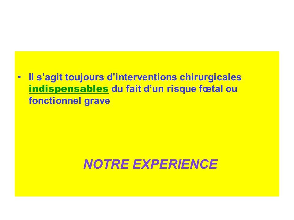 Il sagit toujours dinterventions chirurgicales indispensables du fait dun risque fœtal ou fonctionnel grave NOTRE EXPERIENCE