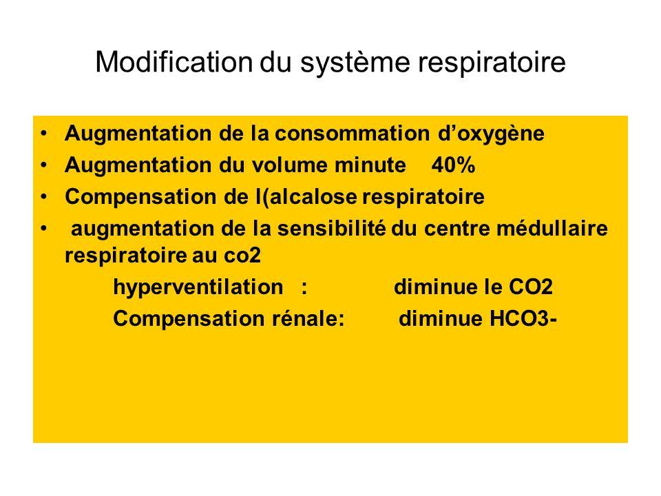 Modification du système respiratoire Augmentation de la consommation doxygène Augmentation du volume minute 40% Compensation de l(alcalose respiratoir