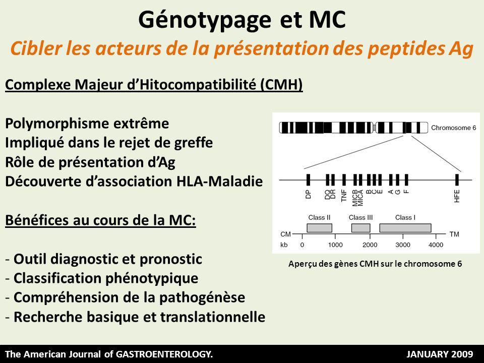 The American Journal of GASTROENTEROLOGY. JANUARY 2009 Aperçu des gènes CMH sur le chromosome 6 Complexe Majeur dHitocompatibilité (CMH) Polymorphisme