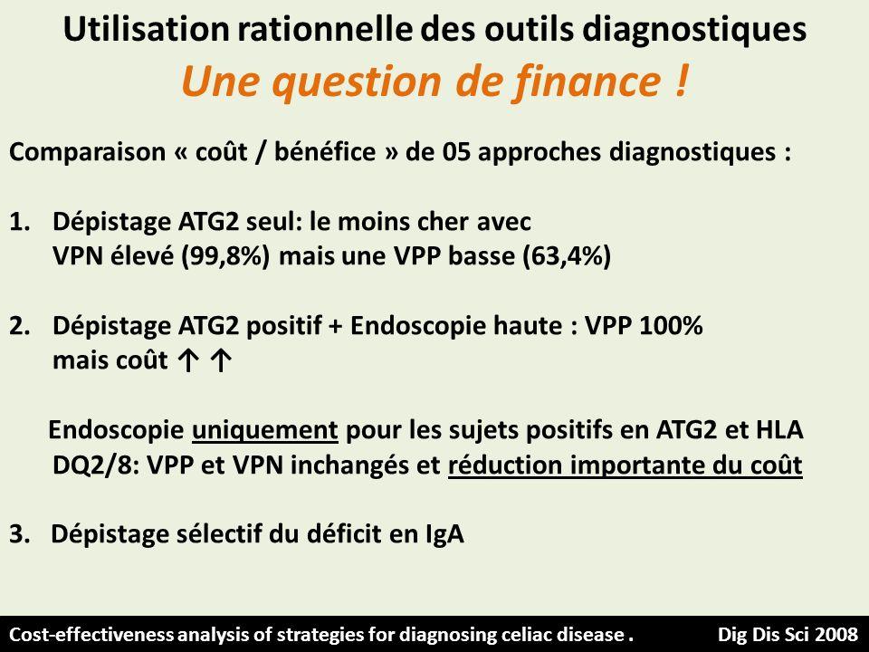 Utilisation rationnelle des outils diagnostiques Une question de finance ! Comparaison « coût / bénéfice » de 05 approches diagnostiques : 1.Dépistage