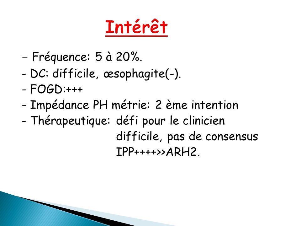 - Fréquence: 5 à 20%. - DC: difficile, œsophagite(-). - FOGD:+++ - Impédance PH métrie: 2 ème intention - Thérapeutique: défi pour le clinicien diffic
