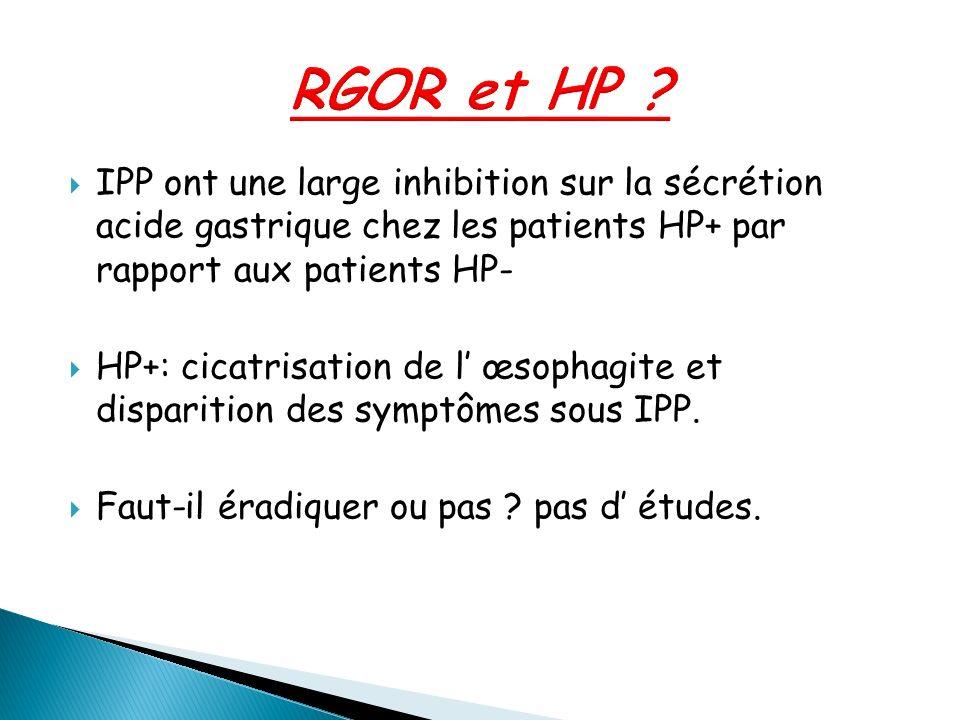 IPP ont une large inhibition sur la sécrétion acide gastrique chez les patients HP+ par rapport aux patients HP- HP+: cicatrisation de l œsophagite et