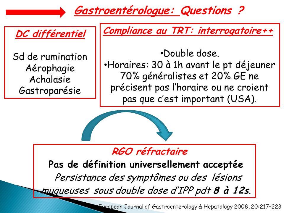 RGO réfractaire Pas de définition universellement acceptée Persistance des symptômes ou des lésions muqueuses sous double dose dIPP pdt 8 à 12s. Compl