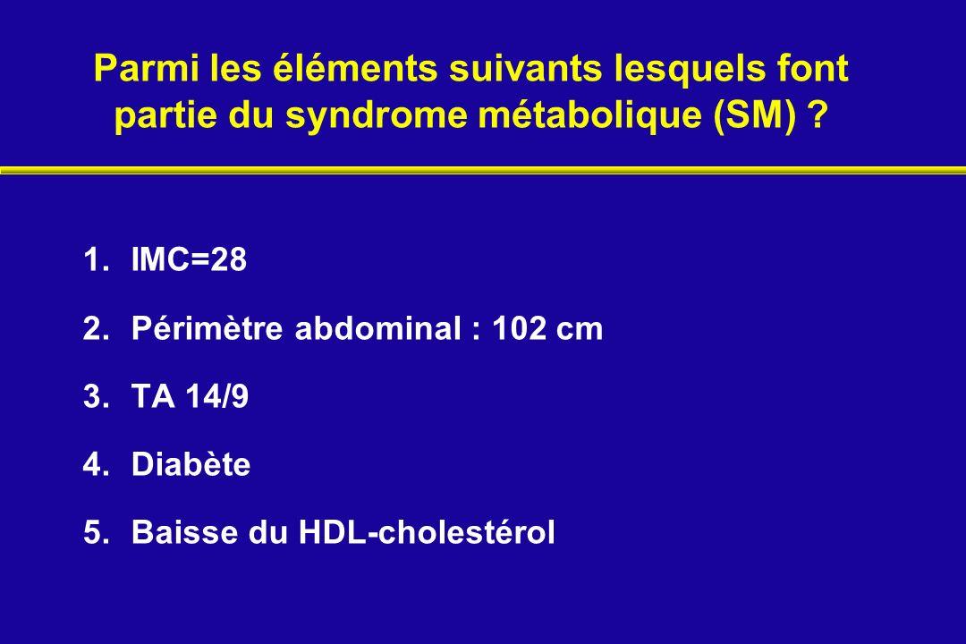 Parmi les éléments suivants lesquels font partie du syndrome métabolique (SM) ? 1.IMC=28 2.Périmètre abdominal : 102 cm 3.TA 14/9 4.Diabète 5.Baisse d