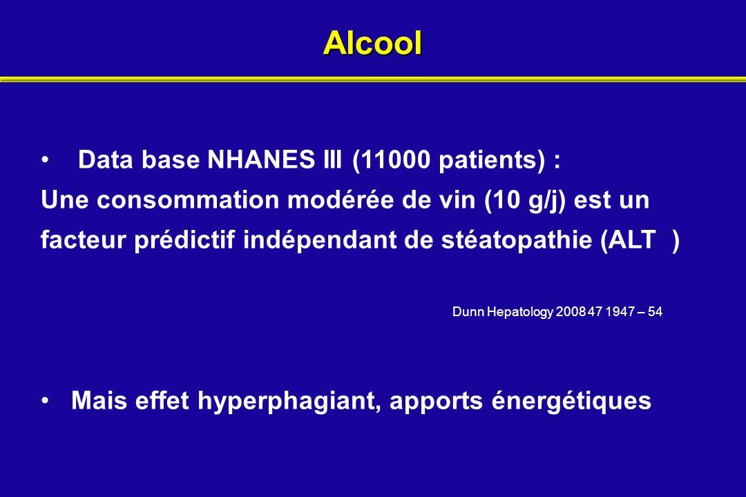 Alcool Dunn Hepatology 2008 47 1947 – 54 Data base NHANES III (11000 patients) : Une consommation modérée de vin (10 g/j) est un facteur prédictif ind