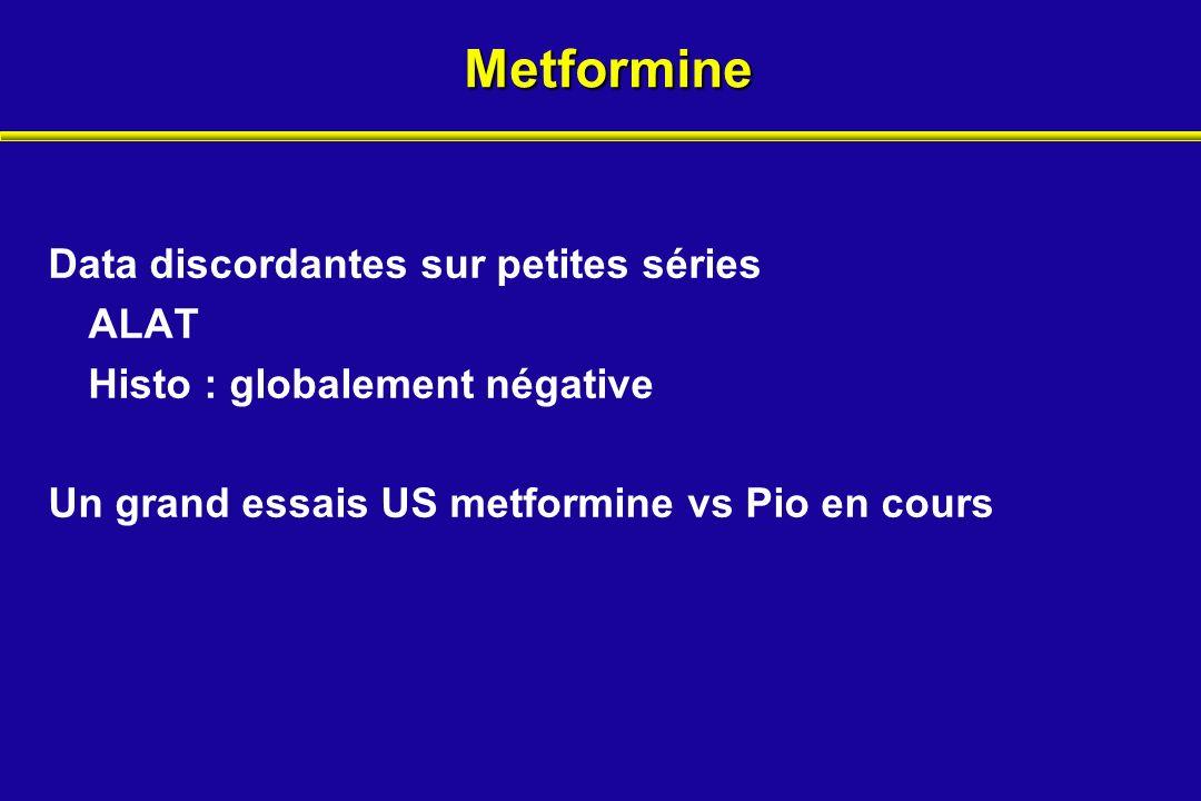 Metformine Data discordantes sur petites séries ALAT Histo : globalement négative Un grand essais US metformine vs Pio en cours