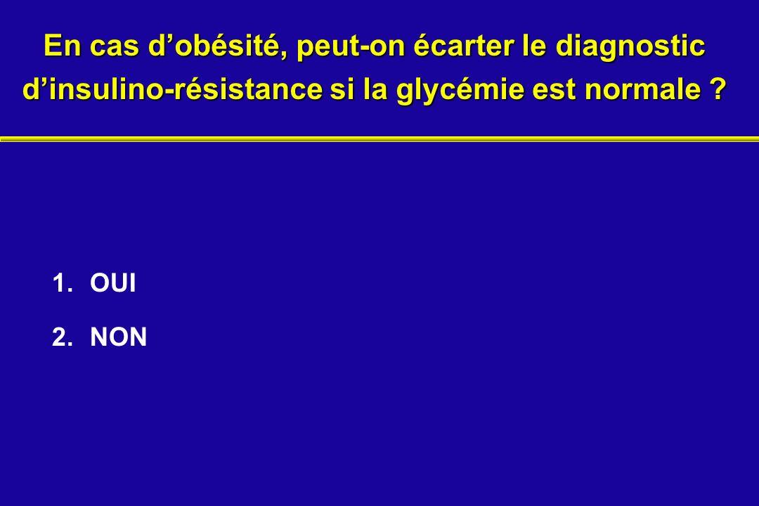 En cas dobésité, peut-on écarter le diagnostic dinsulino-résistance si la glycémie est normale ? 1.OUI 2.NON
