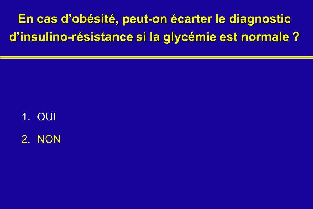 1.OUI 2.NON En cas dobésité, peut-on écarter le diagnostic dinsulino-résistance si la glycémie est normale ?