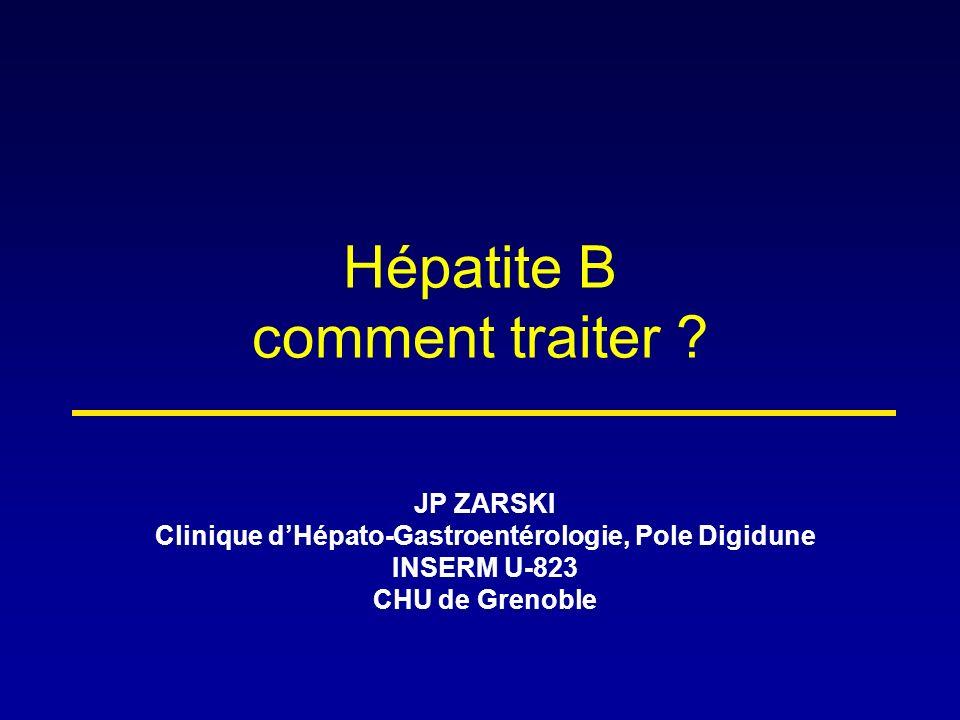 Le titre de lAgHBs à S12 prédit la réponse virologique sous PEG-IFNα-2a chez les sujets AgHBe- Étude rétrospective, 156 patients AASLD 2008 – Marcellin P, Clichy, Abstract 919 actualisé % de malades avec réponse 59 39 7 31 23 0 10 20 30 40 50 60 70 ADN VHB < 10 000 c/ml ADN VHB < 400 c/mlAg HBs Disparition 6 mois post-traitement 4 ans post-traitement AgHBs < 1 500 UI/ml à S12AgHBs > 1 500 UI/ml à S12 34 9 2 12 84 0 10 20 30 40 50 60 70 ADN VHB < 10 000 c/ml ADN VHB < 400 c/mlAg HBs Disparition