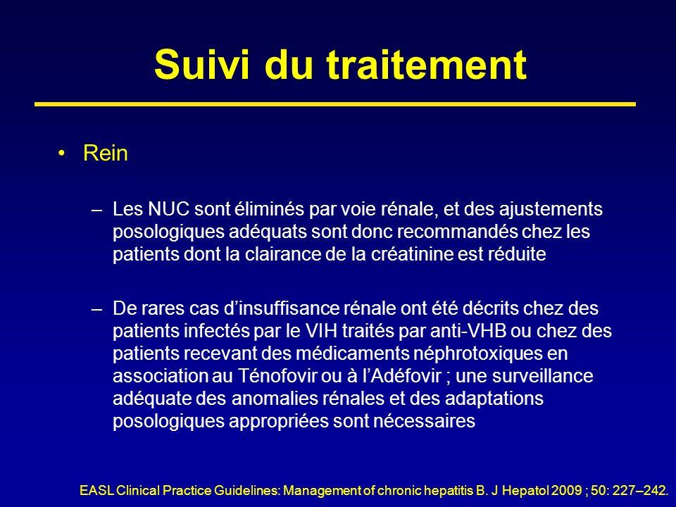 Suivi du traitement Rein –Les NUC sont éliminés par voie rénale, et des ajustements posologiques adéquats sont donc recommandés chez les patients dont