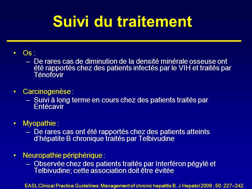 Suivi du traitement Os : –De rares cas de diminution de la densité minérale osseuse ont été rapportés chez des patients infectés par le VIH et traités
