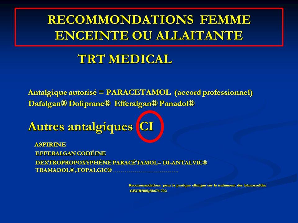 RECOMMONDATIONS FEMME ENCEINTE OU ALLAITANTE TRT MEDICAL TRT MEDICAL Antalgique autorisé = PARACETAMOL (accord professionnel) Antalgique autorisé = PA