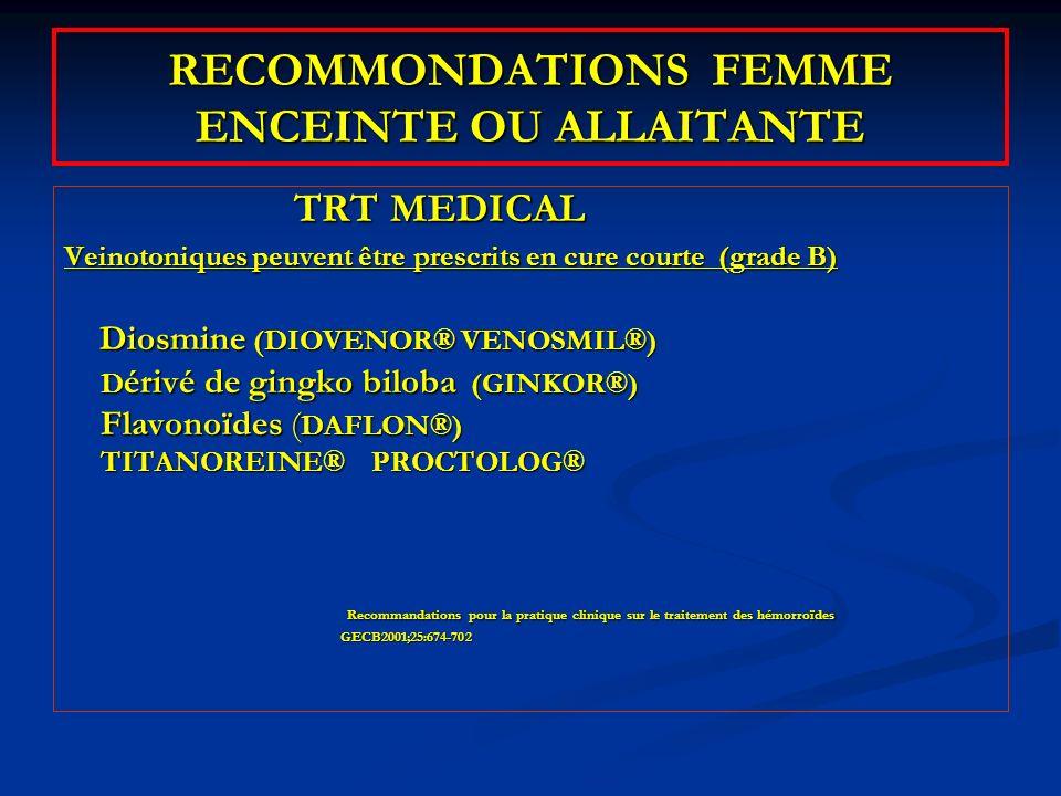 RECOMMONDATIONS FEMME ENCEINTE OU ALLAITANTE TRT MEDICAL TRT MEDICAL Veinotoniques peuvent être prescrits en cure courte (grade B) Diosmine (DIOVENOR®