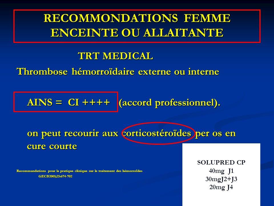 RECOMMONDATIONS FEMME ENCEINTE OU ALLAITANTE TRT MEDICAL TRT MEDICAL Thrombose hémorroïdaire externe ou interne AINS = CI ++++ (accord professionnel).
