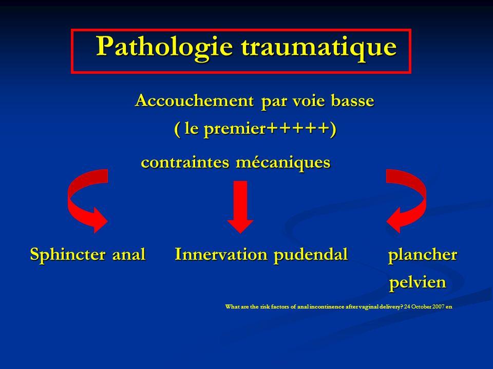 Pathologie traumatique Accouchement par voie basse Accouchement par voie basse ( le premier+++++) ( le premier+++++) contraintes mécaniques contrainte