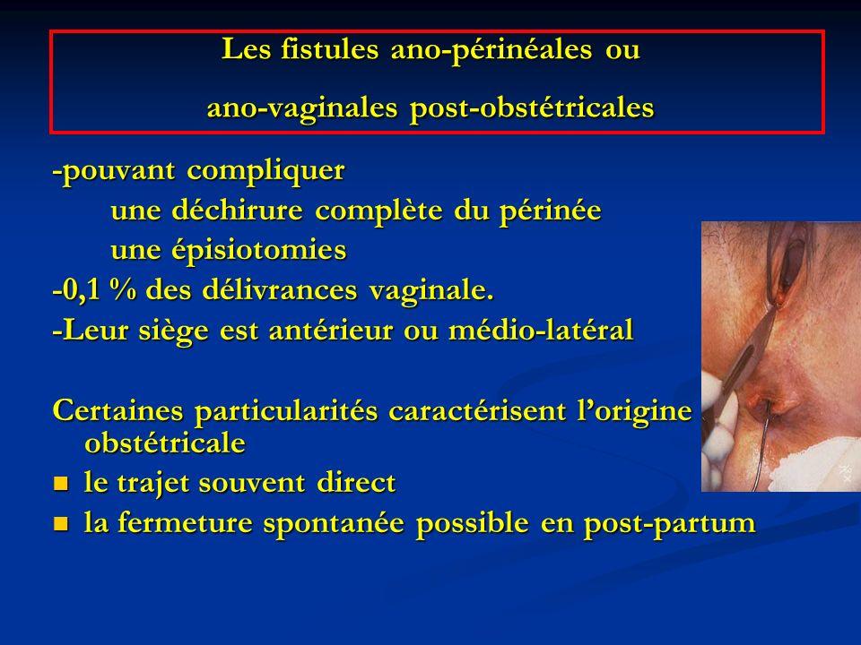 Les fistules ano-périnéales ou ano-vaginales post-obstétricales -pouvant compliquer une déchirure complète du périnée une déchirure complète du périné