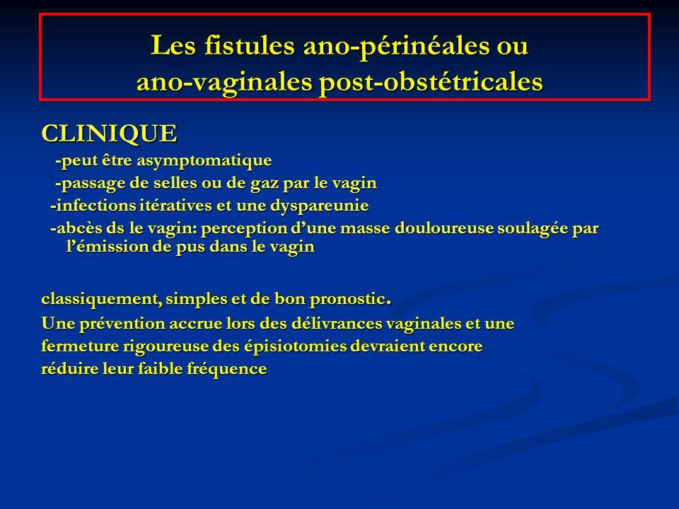 Les fistules ano-périnéales ou ano-vaginales post-obstétricales CLINIQUE -peut être asymptomatique -peut être asymptomatique -passage de selles ou de