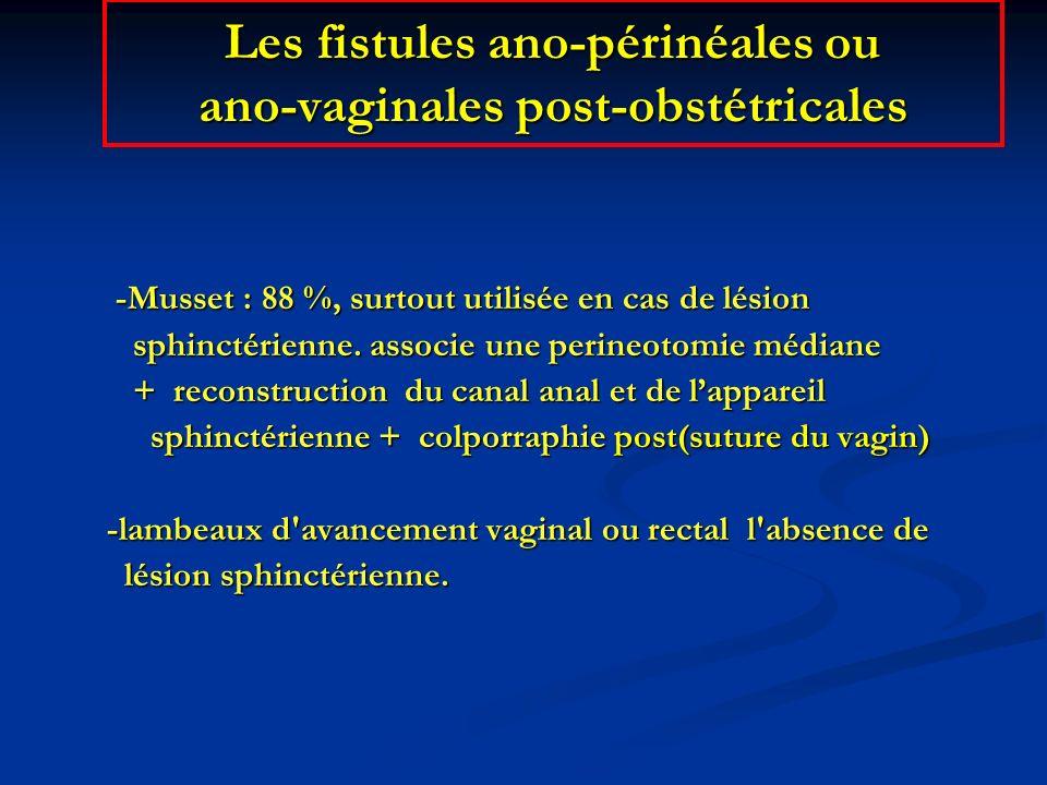 -Musset : 88 %, surtout utilisée en cas de lésion -Musset : 88 %, surtout utilisée en cas de lésion sphinctérienne. associe une perineotomie médiane s