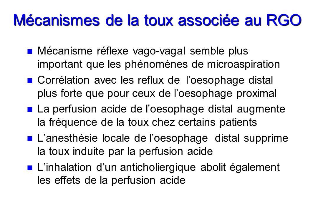 Mécanismes de la toux associée au RGO n n Mécanisme réflexe vago-vagal semble plus important que les phénomènes de microaspiration n n Corrélation avec les reflux de loesophage distal plus forte que pour ceux de loesophage proximal n n La perfusion acide de loesophage distal augmente la fréquence de la toux chez certains patients n n Lanesthésie locale de loesophage distal supprime la toux induite par la perfusion acide n n Linhalation dun anticholiergique abolit également les effets de la perfusion acide