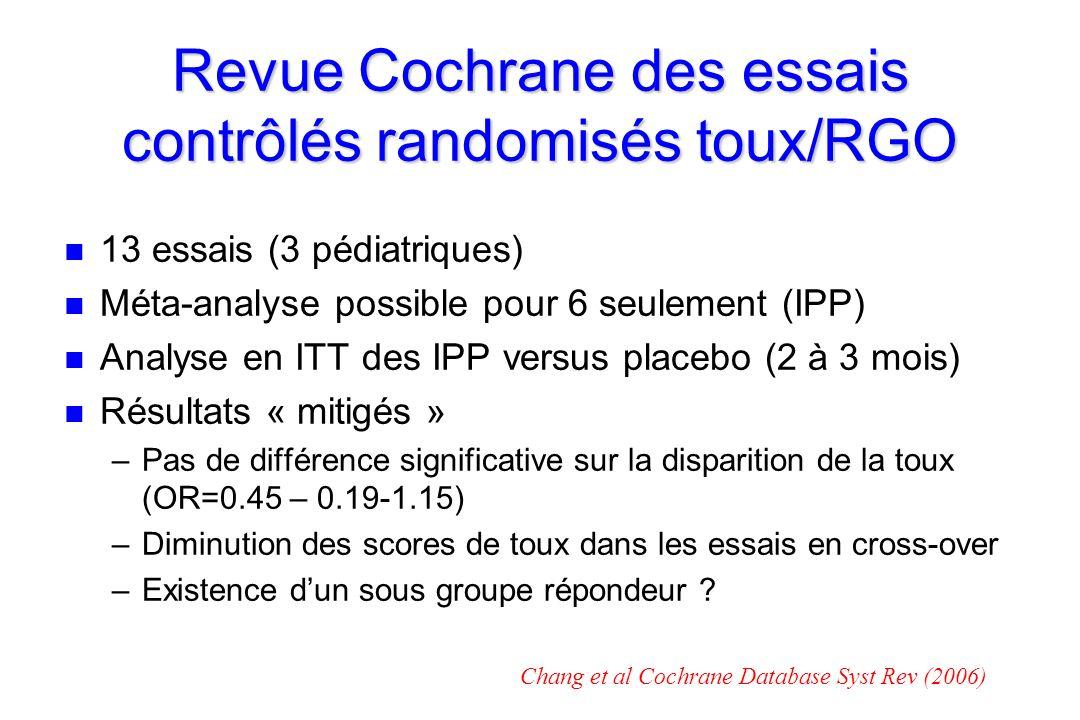 Revue Cochrane des essais contrôlés randomisés toux/RGO n n 13 essais (3 pédiatriques) n n Méta-analyse possible pour 6 seulement (IPP) n n Analyse en ITT des IPP versus placebo (2 à 3 mois) n n Résultats « mitigés » – –Pas de différence significative sur la disparition de la toux (OR=0.45 – 0.19-1.15) – –Diminution des scores de toux dans les essais en cross-over – –Existence dun sous groupe répondeur .