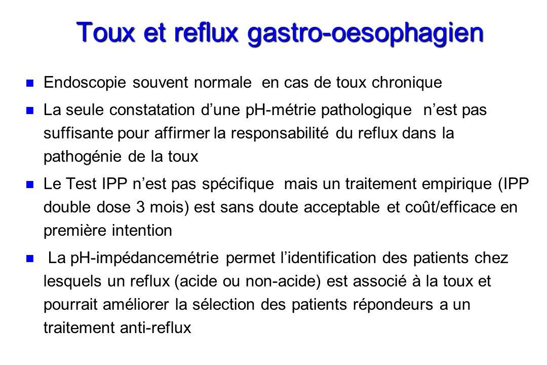 Toux et reflux gastro-oesophagien n n Endoscopie souvent normale en cas de toux chronique n n La seule constatation dune pH-métrie pathologique nest p