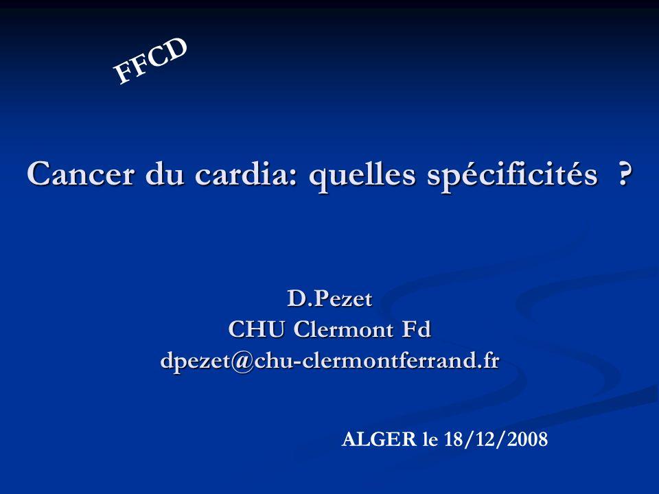 Facteurs de risques: ADK Cardia Type I (n : 361) Type II (n: 271) Type III (n:370)p Age (ans) 60,160,462,6ns Ratio / 9/15,4/12,1/1 < 0,01 Barrett76,9%9,8%2,0% Tumeur Indifférenciée 51%55,4%71,6% < 0,01 Siewert J Surg Oncol 2005; 90:139-6