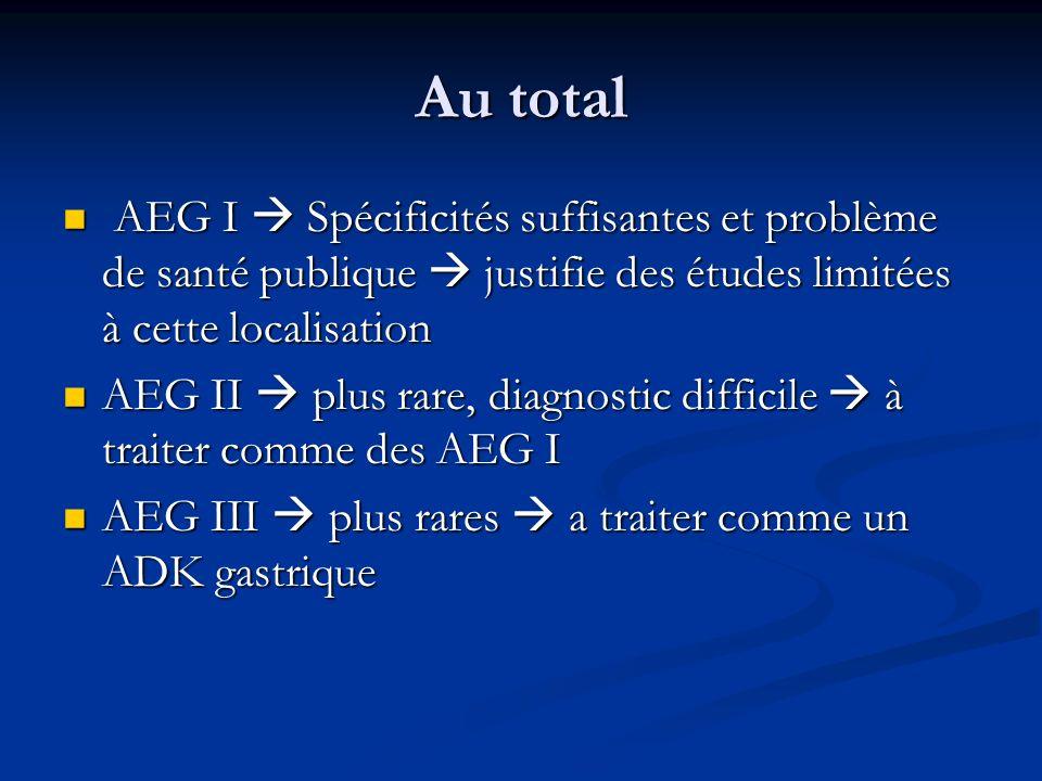 Au total AEG I Spécificités suffisantes et problème de santé publique justifie des études limitées à cette localisation AEG I Spécificités suffisantes