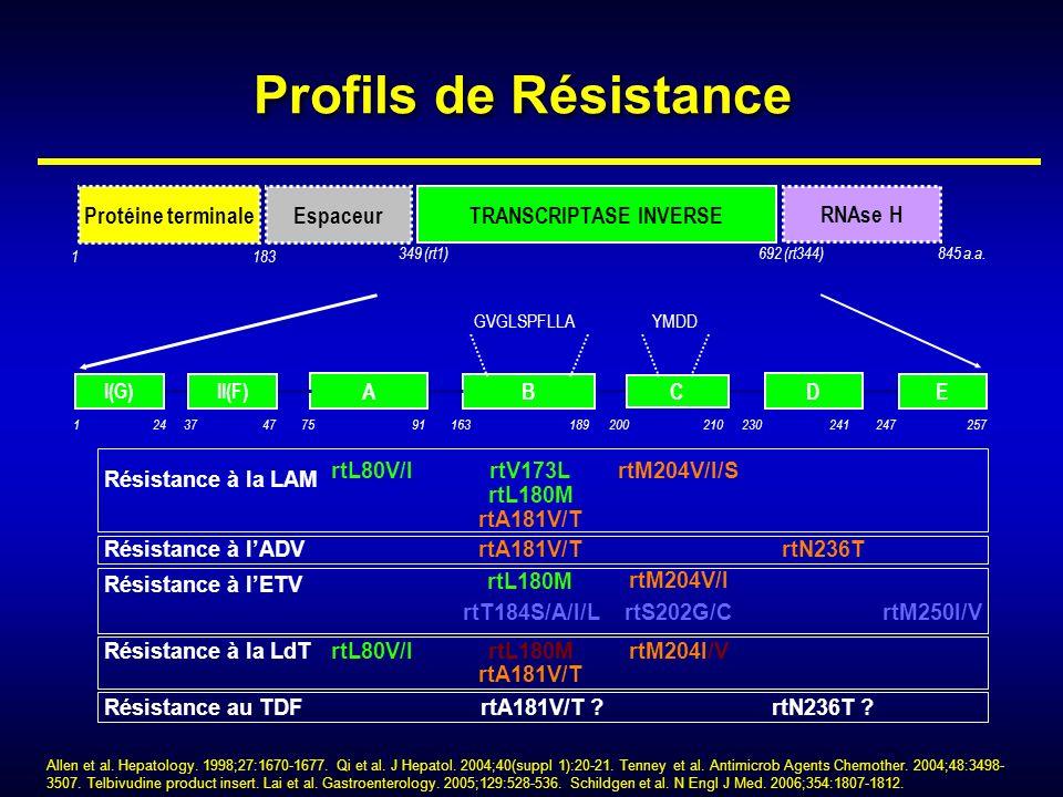 Profils de Résistance Résistance à la LAM Résistance à lETV Résistance à lADVrtA181V/TrtN236T rtV173LrtM204V/I/S rtM250I/VrtT184S/A/I/L rtL180M rtS202