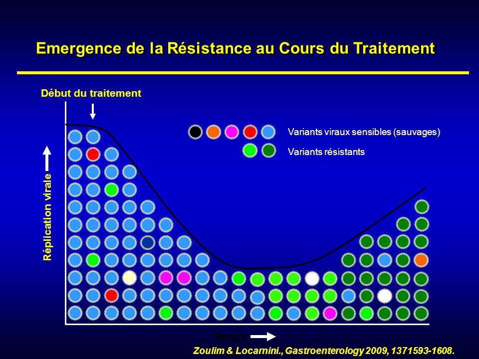 Variants viraux sensibles (sauvages) Réplication virale Temps Début du traitement Zoulim & Locarnini., Gastroenterology 2009, 1371593-1608. Emergence