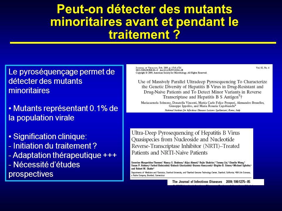 Peut-on détecter des mutants minoritaires avant et pendant le traitement ? Le pyroséquençage permet de détecter des mutants minoritaires Mutants repré