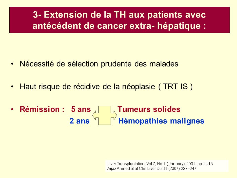Nécessité de sélection prudente des malades Haut risque de récidive de la néoplasie ( TRT IS ) Rémission : 5 ans Tumeurs solides 2 ans Hémopathies malignes Liver Transplantation, Vol 7, No 1 ( January), 2001: pp 11-15 Aijaz Ahmed et al Clin Liver Dis 11 (2007) 227–247 3- Extension de la TH aux patients avec antécédent de cancer extra- hépatique :