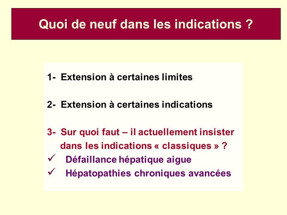 1- Extension à certaines limites 2- Extension à certaines indications 3- Sur quoi faut – il actuellement insister dans les indications « classiques »