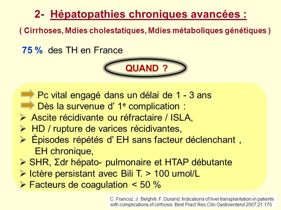 ( Cirrhoses, Mdies cholestatiques, Mdies métaboliques génétiques ) 75 % des TH en France Pc vital engagé dans un délai de 1 - 3 ans Dès la survenue d