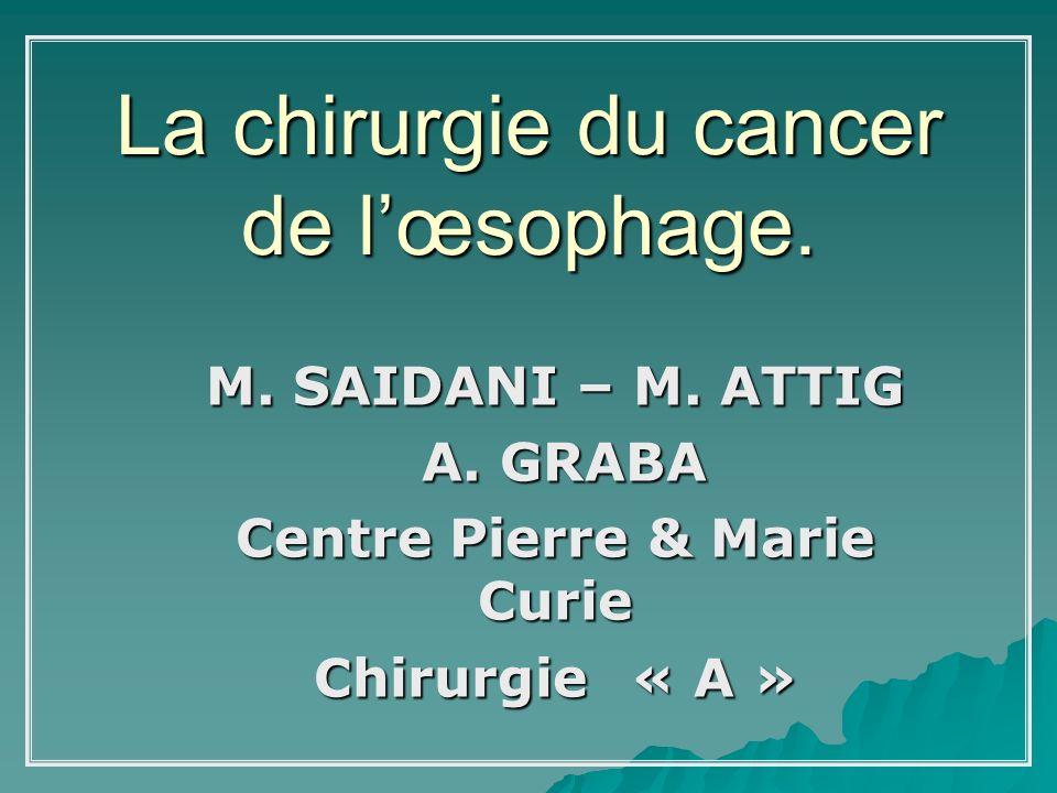 La chirurgie du cancer de lœsophage. M. SAIDANI – M. ATTIG A. GRABA A. GRABA Centre Pierre & Marie Curie Chirurgie « A »