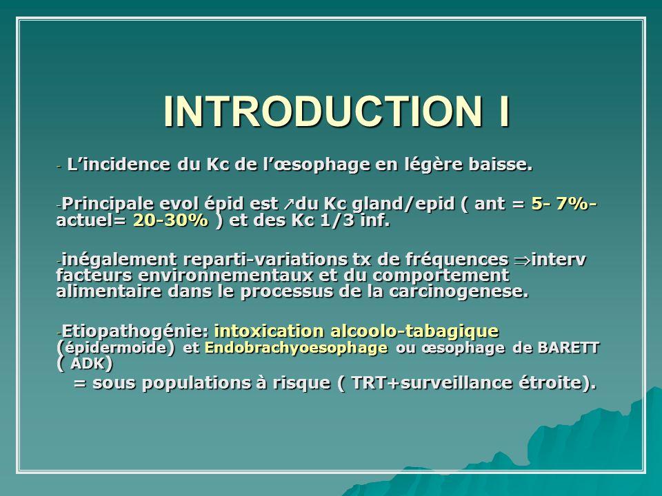 INTRODUCTION I - Lincidence du Kc de lœsophage en légère baisse. - Principale evol épid est du Kc gland/epid ( ant = 5- 7%- actuel= 20-30% ) et des Kc