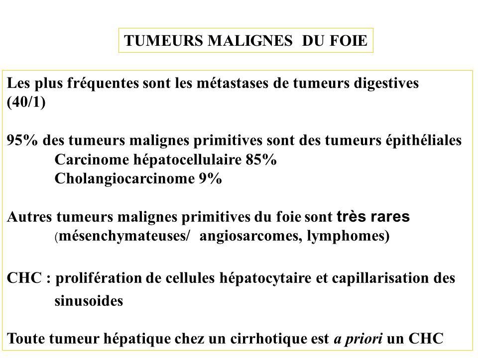 TUMEURS MALIGNES DU FOIE Les plus fréquentes sont les métastases de tumeurs digestives (40/1) 95% des tumeurs malignes primitives sont des tumeurs épi