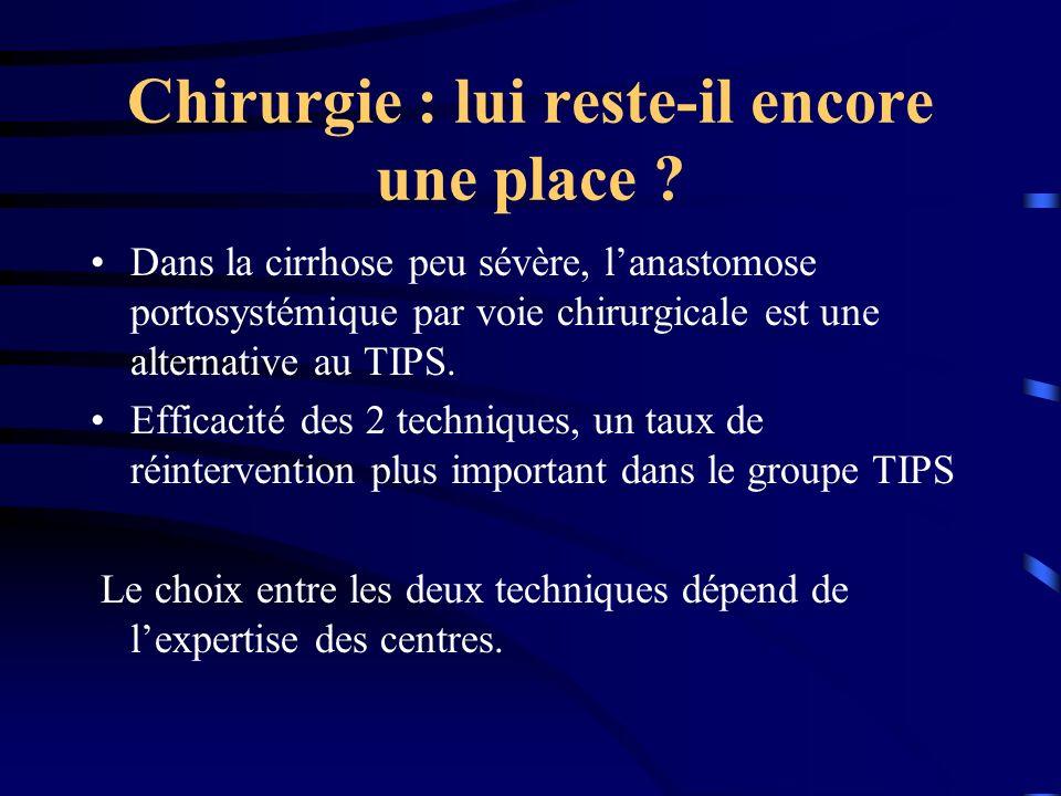 Chirurgie : lui reste-il encore une place ? Dans la cirrhose peu sévère, lanastomose portosystémique par voie chirurgicale est une alternative au TIPS