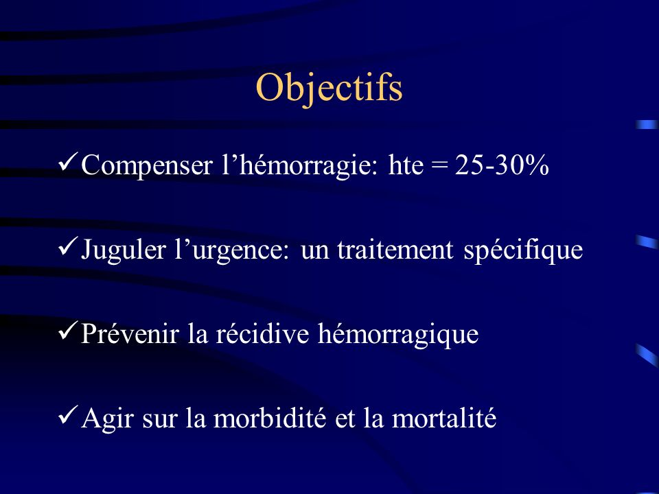 TIPS Anastomose VSH et veine porte par voie trans jugulaire Maitrise de lhgie dans lurgence de 100 % recidive hgique 7 a 30% Mortalitè = 5% TIPS > chirurgie