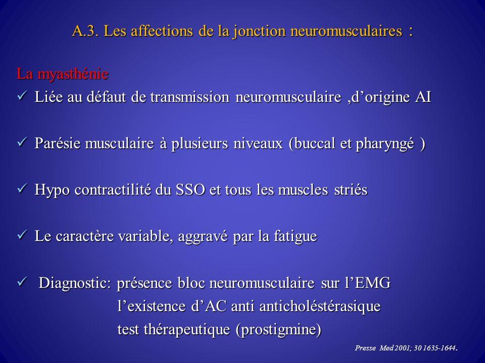 A.3. Les affections de la jonction neuromusculaires : La myasthénie La myasthénie Liée au défaut de transmission neuromusculaire,dorigine AI Liée au d