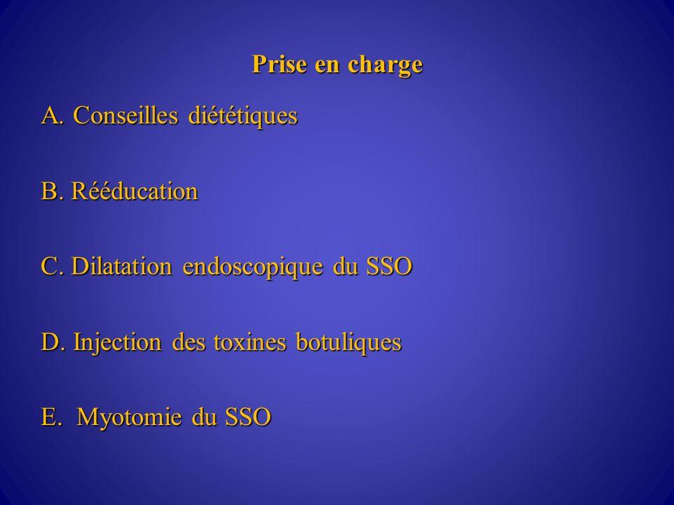 Prise en charge A.Conseilles diététiques B. Rééducation C.