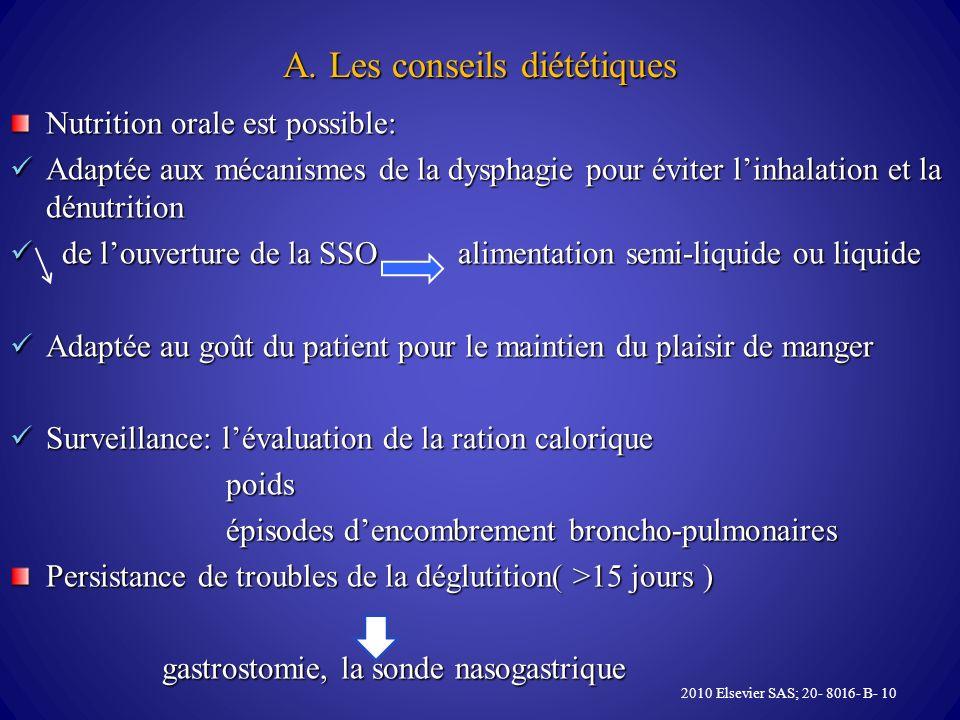 A. Les conseils diététiques Nutrition orale est possible: Adaptée aux mécanismes de la dysphagie pour éviter linhalation et la dénutrition Adaptée aux