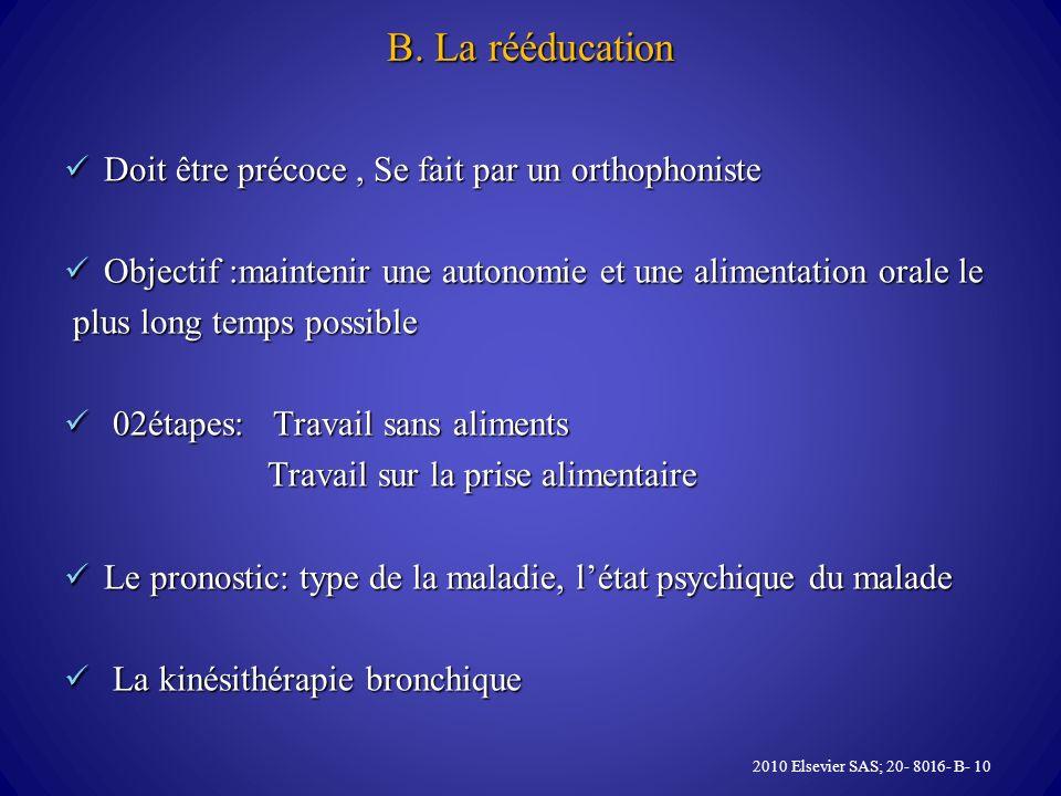 B. La rééducation Doit être précoce, Se fait par un orthophoniste Doit être précoce, Se fait par un orthophoniste Objectif :maintenir une autonomie et