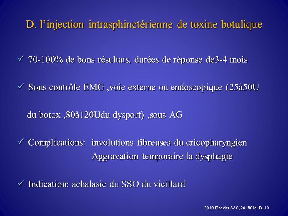 D. linjection intrasphinctérienne de toxine botulique 70-100% de bons résultats, durées de réponse de3-4 mois 70-100% de bons résultats, durées de rép
