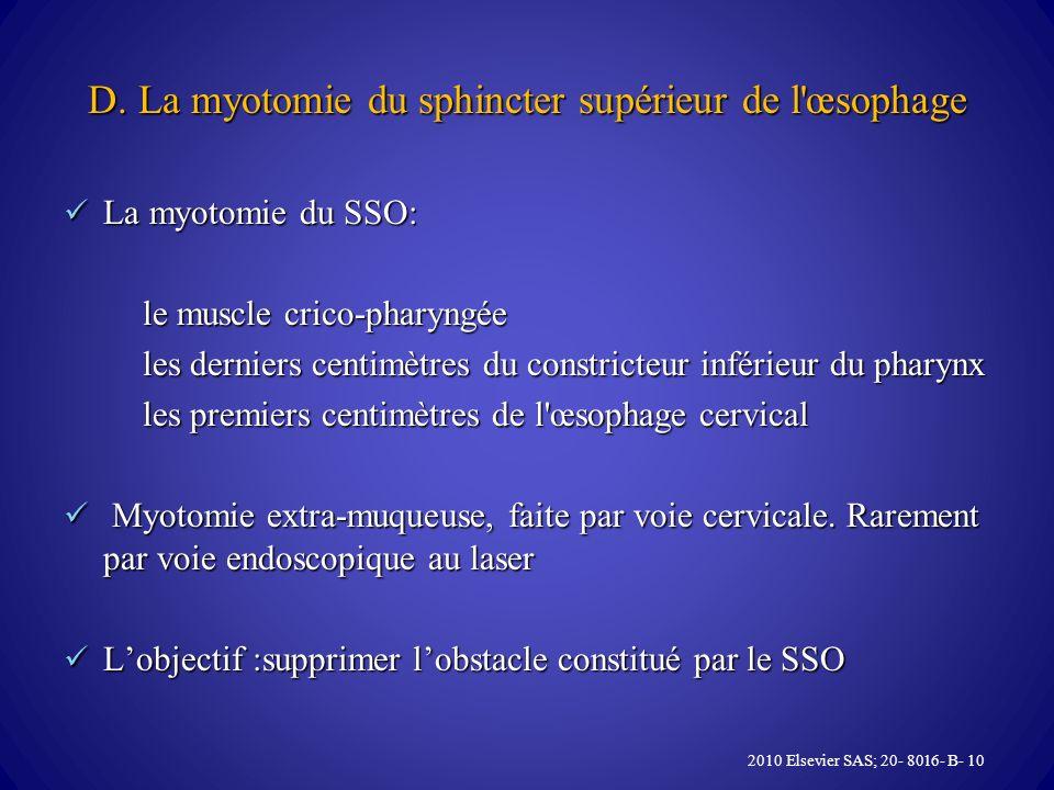 D. La myotomie du sphincter supérieur de l'œsophage La myotomie du SSO: La myotomie du SSO: le muscle crico-pharyngée le muscle crico-pharyngée les de