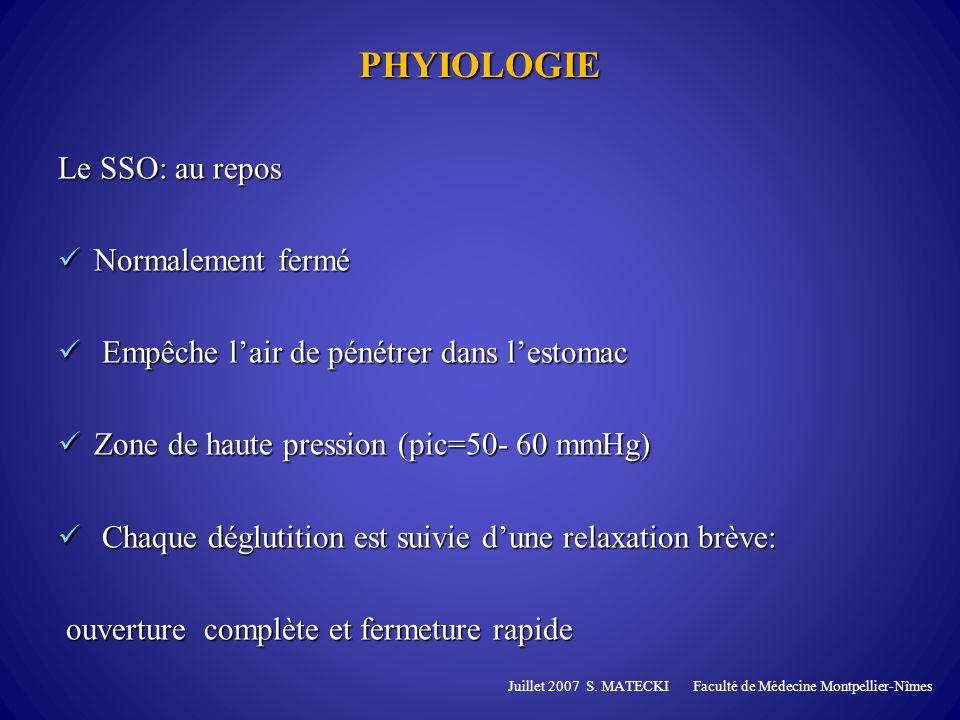 Le SSO: lors de la déglutition: Inhibition temporaire du tonus basal médiée par le nerf X Inhibition temporaire du tonus basal médiée par le nerf X Baisse passagère de la pression intra luminal du SSO => brève relaxation (0,5sec ) Baisse passagère de la pression intra luminal du SSO => brève relaxation (0,5sec ) La paroi post du SSO saligne sur la paroi post de l hypopharynx et de lœsophage cervical, dés que le bolus a remplis lœsophage cervical La paroi post du SSO saligne sur la paroi post de l hypopharynx et de lœsophage cervical, dés que le bolus a remplis lœsophage cervical Hors la déglutition le SSO se relâche légèrement: éructation, vomissements Juillet 2007 S.