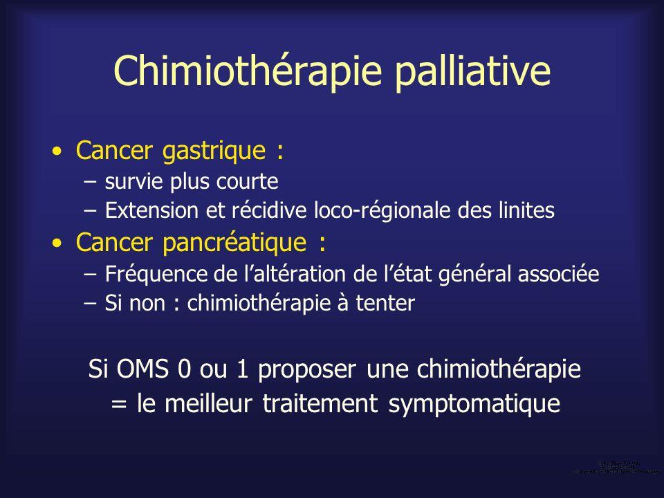 Chimiothérapie palliative Cancer gastrique : –survie plus courte –Extension et récidive loco-régionale des linites Cancer pancréatique : –Fréquence de