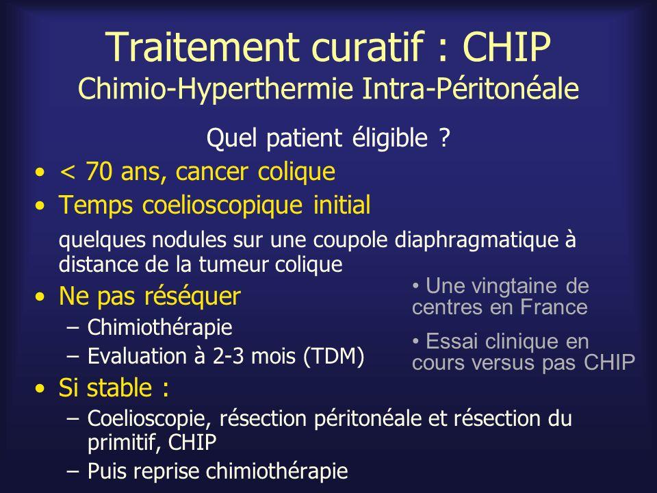 Traitement curatif : CHIP Chimio-Hyperthermie Intra-Péritonéale Quel patient éligible ? < 70 ans, cancer colique Temps coelioscopique initial quelques